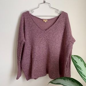 Sweaters - Light Purple Fluffy Warm V Neck Sweater sz S